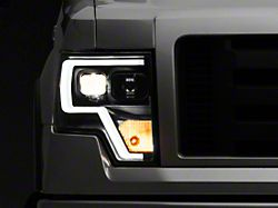 Projector Headlights with LED Accent; Black (09-14 F-150 w/o Factory HID Headlights)