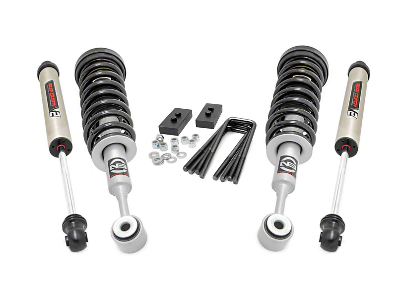 Rough Country 2.5 in. Leveling Kit w/ Lifted Struts & V2 Monotube Shocks (04-08 4WD F-150)