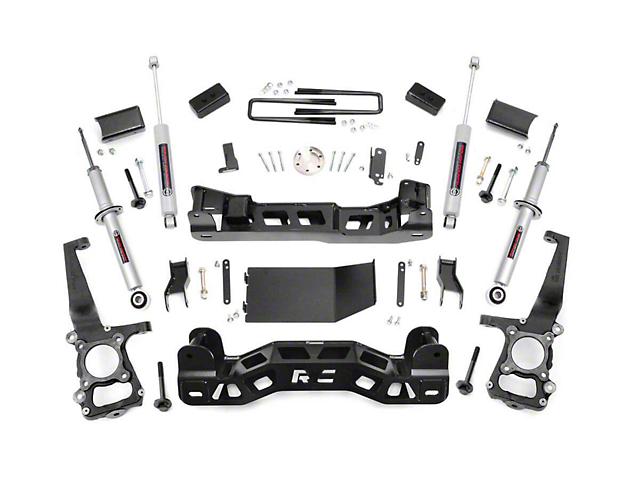 Rough Country 4-Inch Suspension Lift Kit with Lifted Struts and Premium N3 Shocks (2014 4WD F-150, Excluding Raptor)