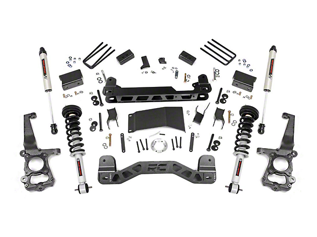 Rough Country 4 in. Suspension Lift Kit w/ Lifted Struts & V2 Monotube Shocks (15-20 4WD F-150, Excluding Raptor)