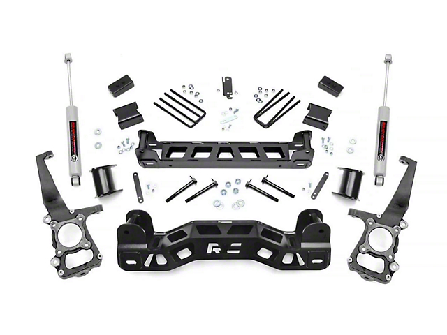 Rough Country 4-Inch Suspension Lift Kit with Premium N3 Shocks (11-14 2WD F-150)