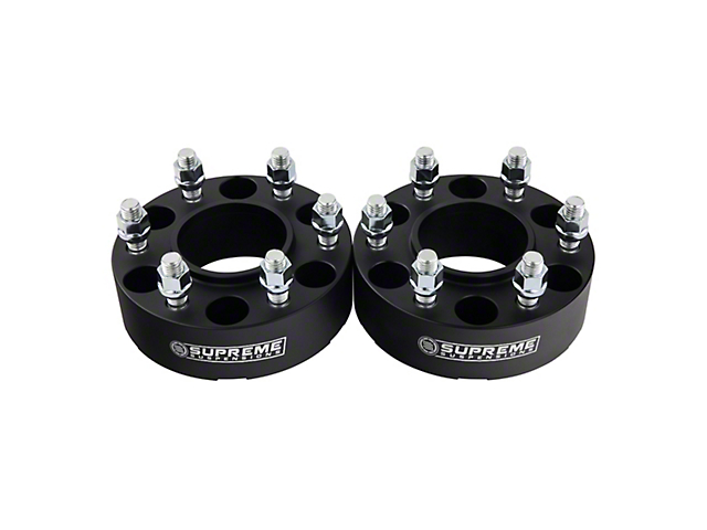 Supreme Suspensions 2-Inch Pro Billet Hub and Wheel Centric Wheel Spacers; Black; Set of Two (15-21 F-150)
