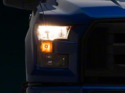 Headlights with Amber Corners; Black Housing; Clear Lens (15-17 F-150 w/ Factory Halogen Headlights)