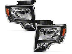 Crystal Headlights; Black Housing; Clear Lens (09-14 F-150 w/o Factory HID Headlights)