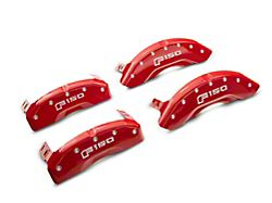 MGP Red Caliper Covers with 2015 Style F-150 Logo; Front and Rear (12-14 F-150; 15-20 F-150 w/ Manual Parking Brake)