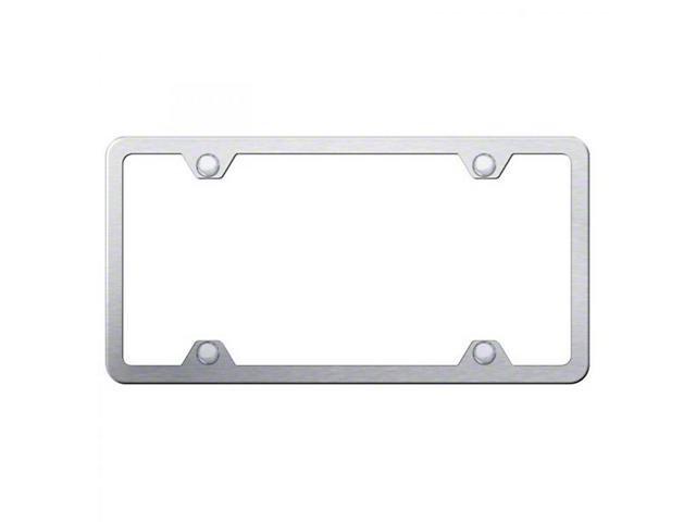 License Frame; 4 Hole Slimline Frame; Brushed Stainless