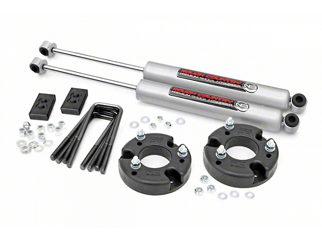 Rough Country 2-Inch Front Leveling Kit with Premium N3 Shocks (2021 F-150, Excluding Raptor)