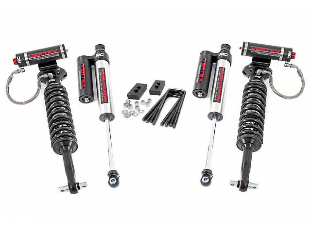 Rough Country 2-Inch Front Leveling Lift Kit with Adjustable Vertex Coil-Overs and Vertex Reservoir Shocks (2021 4WD F-150, Excluding Raptor)