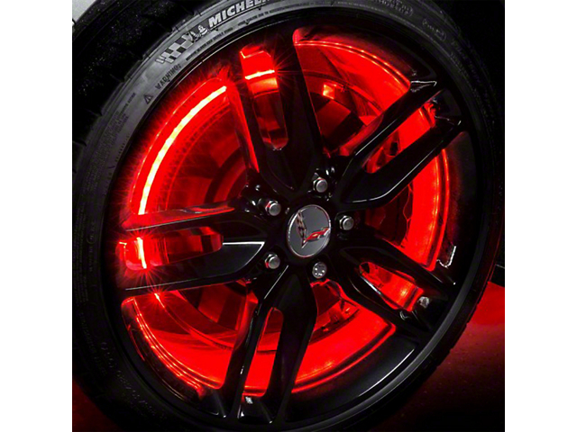 Oracle LED Wheel Rings; Red LED Illuminated Wheel Rings, Double LED