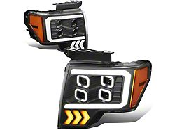 LED DRL Quad Projector Headlights with Amber Corner Lights; Black Housing; Clear Lens (09-14 F-150 w/o Factory HID)