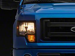 Factory Style Headlights with Amber Corner Lights; Black Housing; Clear Lens (09-14 F-150 w/o Factory HID)