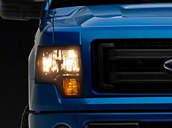 Factory Style Headlights with Clear Corner Lights; Chrome Housing; Smoked Lens (09-14 F-150 w/o Factory HID)