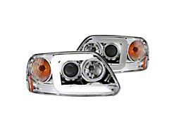 C-LED Bar Projector Headlights; Chrome Housing; Clear Lens (97-03 F-150)