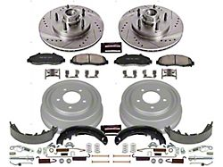 Power Stop Z23 Evolution Sport 5-Lug Brake Rotor, Drum and Pad Kit; Front and Rear (97-Early 00 2WD F-150 w/ Rear Wheel ABS & Drum Brakes)