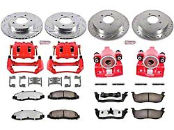 Power Stop Z36 Extreme Truck and Tow 5-Lug Brake Rotor, Pad and Caliper Kit; Front and Rear (99-Early 00 4WD F-150)