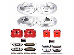 Power Stop Z36 Extreme Truck and Tow 6-Lug Brake Rotor, Pad and Caliper Kit; Front and Rear (2009 F-150)