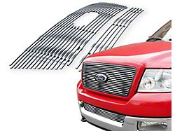 Stainless Steel Billet Upper and Lower Grille Insert; Chrome (04-05 F-150)