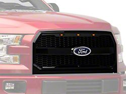 RedRock 4x4 Baja Upper Replacement Grille with LED Lighting; Gloss Black (15-17 F-150, Excluding Raptor)