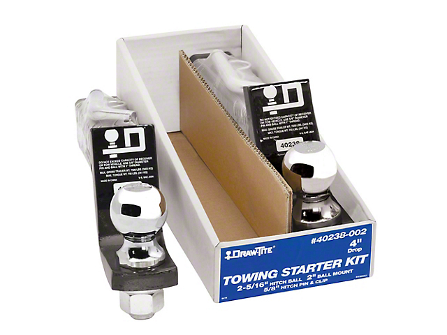 2-Inch Receiver Hitch Towing Starter Kit with 2-5/16-Inch Ball; 4-Inch Drop (Universal Fitment)