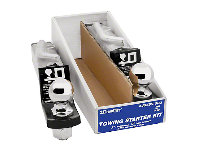 2-Inch Receiver Hitch Towing Starter Kit with 2-Inch Ball; 2-Inch Drop (Universal Fitment)