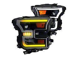 Renegade Series DRL Projector Headlights; Black Housing; Clear Lens (15-17 F-150 w/ Factory Halogen Headlights)