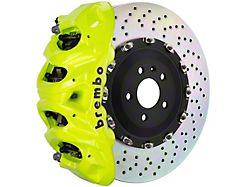 Brembo GT Series 8-Piston Front Big Brake Kit with 16.20-Inch 2-Piece Cross Drilled Rotors; Fluorescent Yellow Calipers (15-20 F-150, Excluding Raptor)