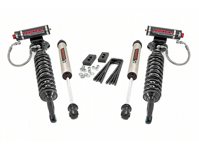 Rough Country 2-Inch Front Leveling Lift Kit with Adjustable Vertex Coil-Overs and V2 Monotube Shocks (09-13 F-150, Excluding Raptor)