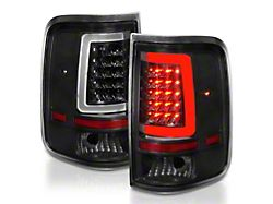 C-Light Bar Style LED Tail Lights; Black Housing; Clear Lens (04-06 F-150 Styleside)