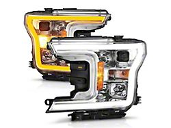 Plank Style Switchback Projector Headlights; Chrome Housing; Clear Lens (18-20 F-150 w/ Factory Halogen Headlights)