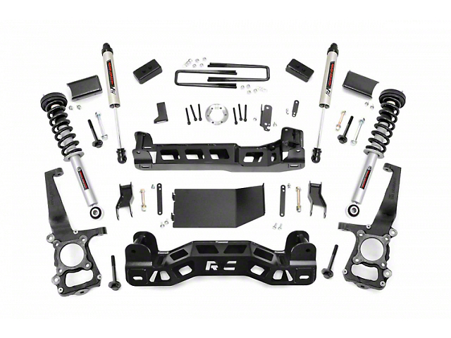 Rough Country 4-Inch Suspension Lift Kit with Lifted Struts and V2 Monotube Shocks (09-10 4WD F-150)
