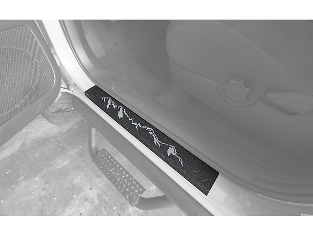 Front Door Sill Protection with Mountain Logo; Textured Black (05-21 Tacoma)