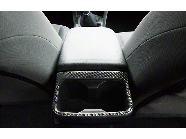 Rear Cup Holder Accent Trim; Domed Carbon Fiber (16-21 Tacoma)