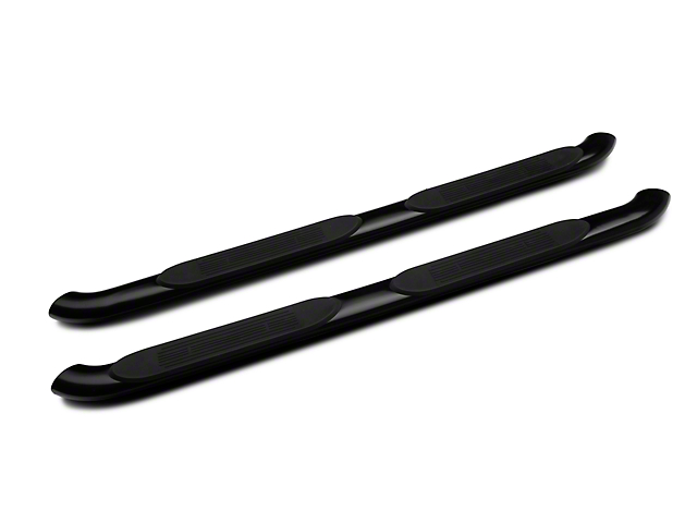 RedRock 4x4 4-Inch Oval Bent End Side Step Bars; Black (05-21 Tacoma Access Cab)