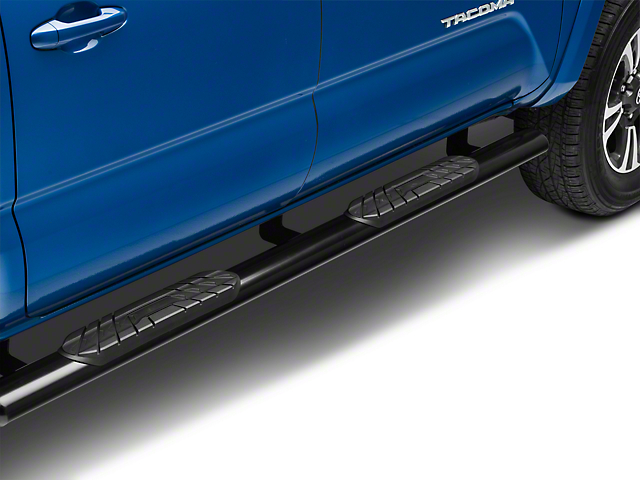 RedRock 4x4 4-Inch Oval Straight End Side Step Bars; Black (05-21 Tacoma Double Cab)
