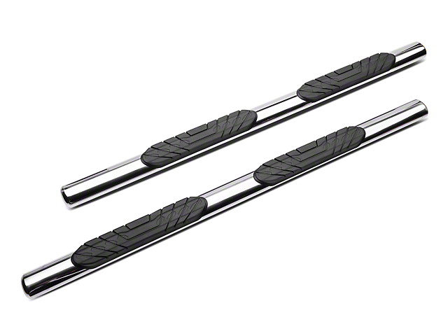 RedRock 4x4 4-Inch Oval Straight End Side Step Bars; Stainless Steel (05-20 Tacoma Access Cab)