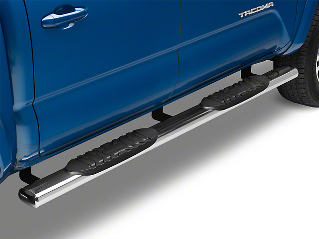 RedRock 4x4 5-Inch Oval Straight End Side Step Bars; Stainless Steel (05-20 Tacoma Double Cab)