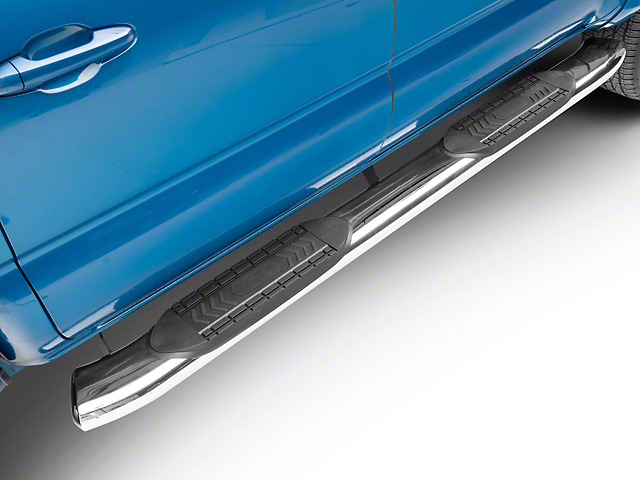 RedRock 4x4 6-Inch Oval Bent End Side Step Bars; Stainless Steel (05-20 Tacoma Double Cab)