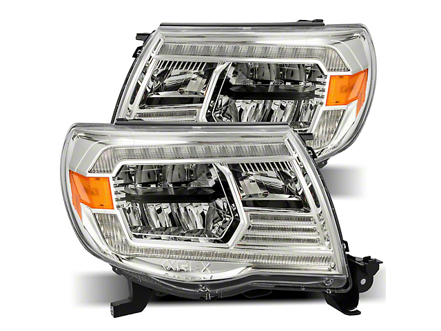 LUXX-Series LED Crystal Headlights; Chrome Housing; Clear Lens (05-11 Tacoma w/o Factory DRL)