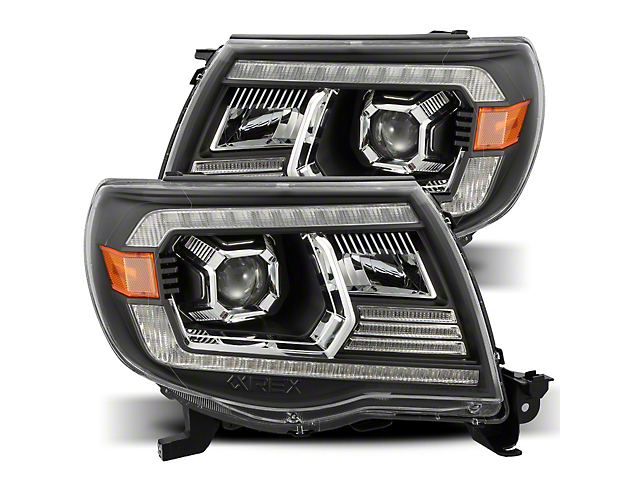 LUXX-Series LED Projector Headlights; Black Housing; Clear Lens (05-11 Tacoma w/o Factory DRL)
