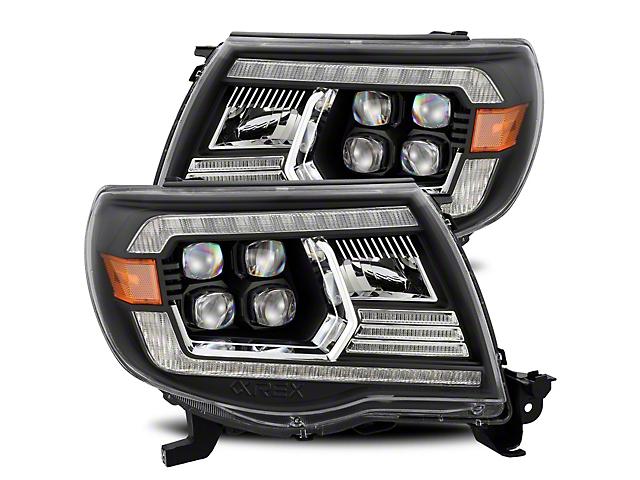 NOVA-Series LED Projector Headlights; Alpha Black Housing; Clear Lens (05-11 Tacoma w/o Factory DRL)