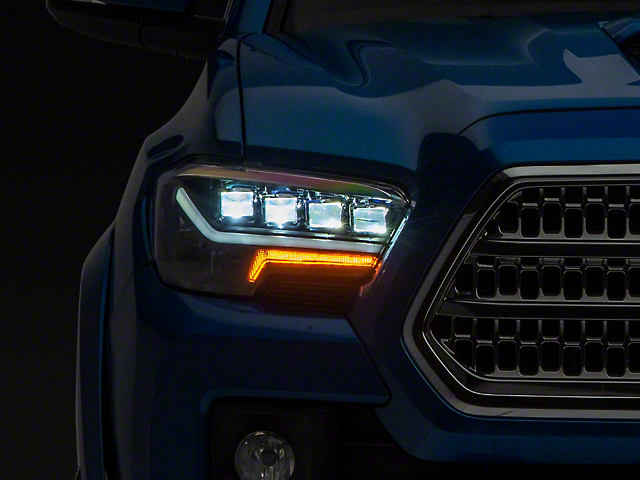 Quad-Pro LED Projector Headlights; Black Housing; Clear Lens (16-21 Tacoma w/ Factory LED DRL)