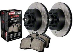 StopTech Truck Axle Slotted 6-Lug Brake Rotor and Pad Kit; Front (05-21 Tacoma)