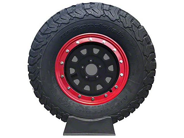 Prosport 16-Inch Simulated Beadlock Wheel Ring; Red (Universal Fitment)