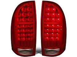 LED Tail Lights; Chrome Housing; Red Lens (05-15 Tacoma w/o Factory LED Tail Lights)