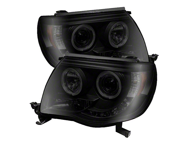 Axial Black Smoked Projector Headlights w/ LED Halos (05-11 Tacoma)