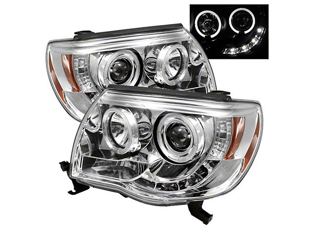 LED Halo Projector Headlights; Chrome Housing; Clear Lens (05-11 Tacoma)