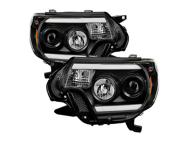 Light Bar DRL Projector Headlights; Black (12-15 Tacoma)
