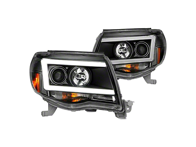 LED DRL Projector Headlights; Black Housing; Clear Lens (05-11 Tacoma)