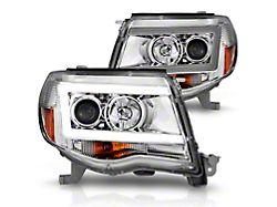 LED DRL Projector Headlights; Chrome Housing; Clear Lens (05-11 Tacoma)