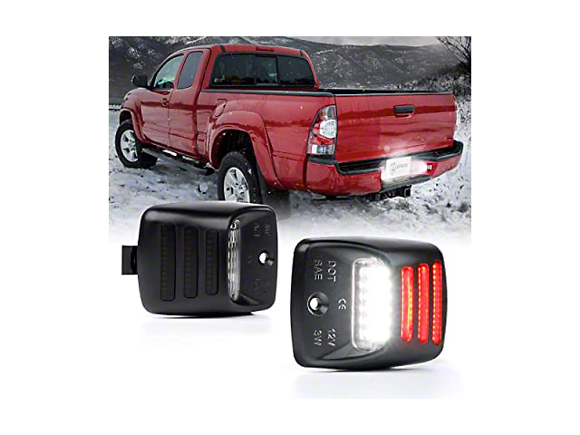 White G1 LED License Plate Light Assembly with Red Running Lamp (07-13 Tundra)